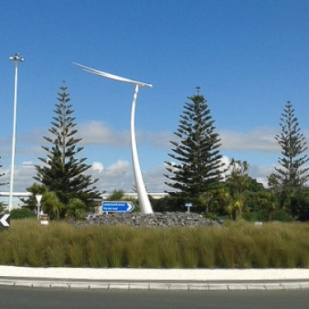 Traffic island at Auckland International Airport